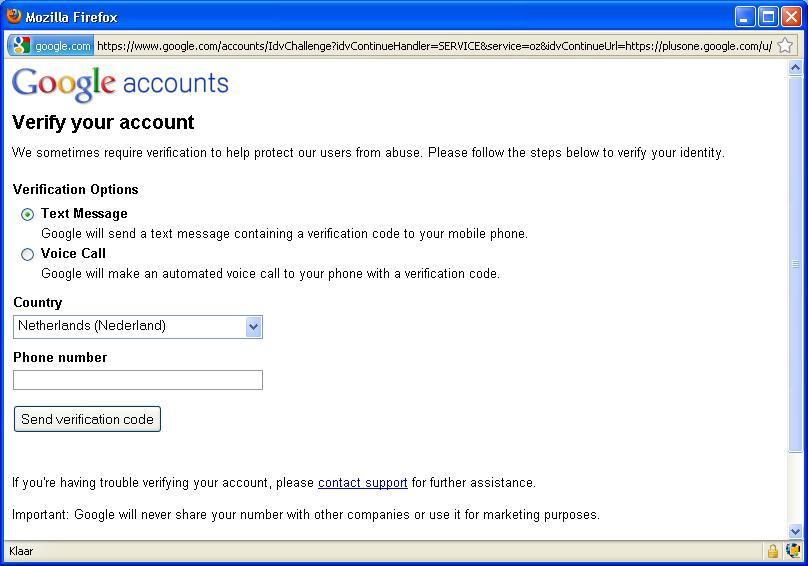 Google vraagt om telefoonnummer voor verificatie
