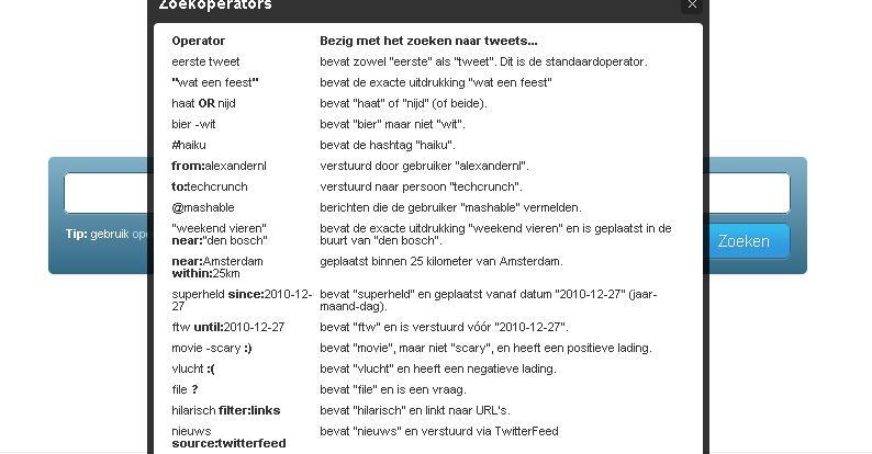 Uitgebreid zoeken op Twitter