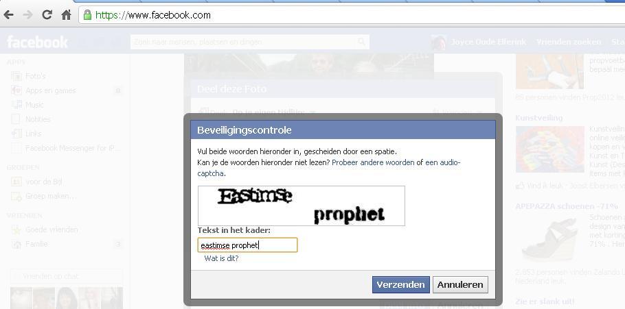 Invoeren code bij delen op facebook